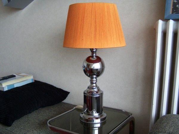 lampe pied chrome abat jour fil ann es 70. Black Bedroom Furniture Sets. Home Design Ideas